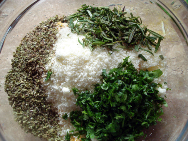 mix and combine cheeses and herbs