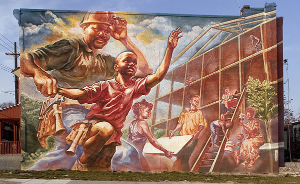 Grafiti atau Lukisan Dinding bagunan rumah, gotong royong