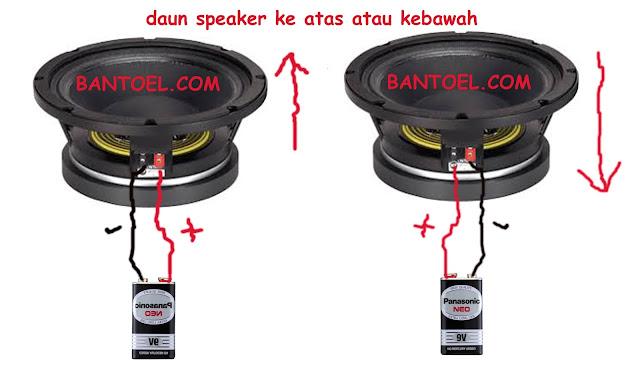 Mengecek phase speaker dengan baterai 9V