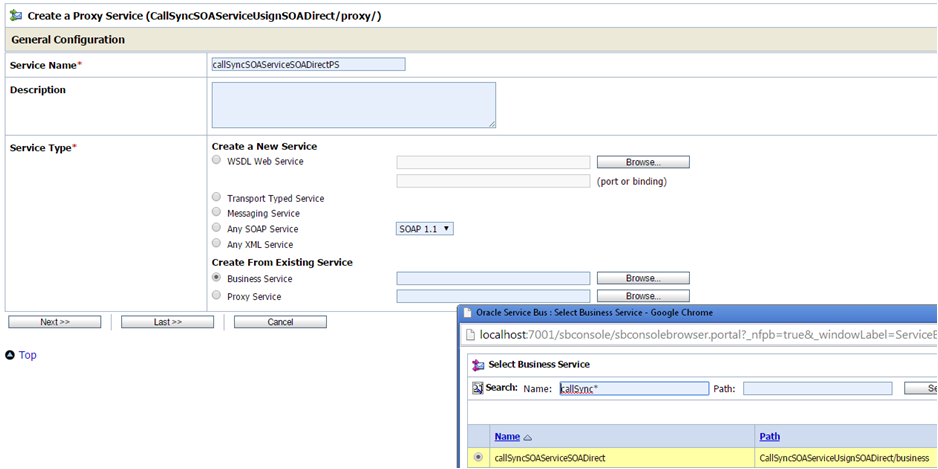 OSB to SOA Using SOA Direct Create Proxy Service