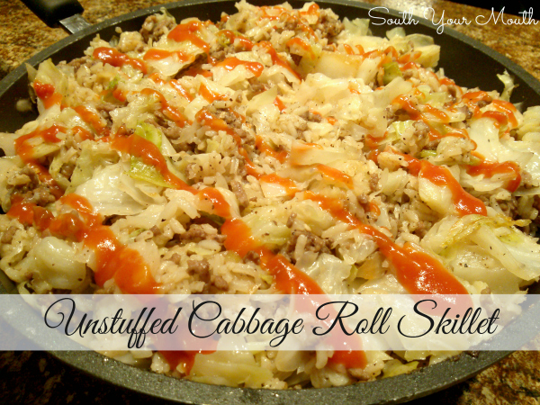 Unstuffed Cabbage Roll Skillet | All the goodness of cabbage rolls without precooking the rice or parboiling the cabbage in this deconstructed cabbage roll recipe that cooks in a skillet! #cabbage #rolls #unstuffed #deconstructed #recipe