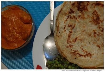Ricetta indiana - Pollo alla salsa di anacardio e panna - Immagini di Sunil Deepak