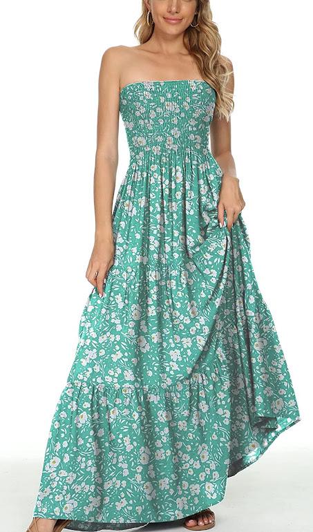 Green Strapless Maxi Dresses