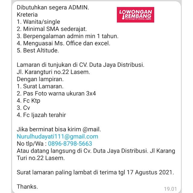 Lowongan Kerja Admin CV Duta Jaya Distribusi Lasem Rembang