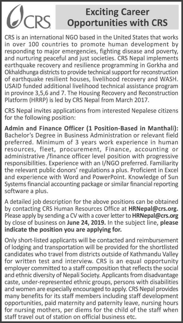 CRS International Nepal Vacancy for Admin and Finance Officer.