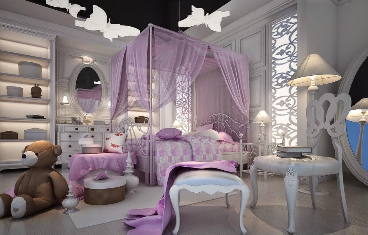 Dormitorio lila para niña