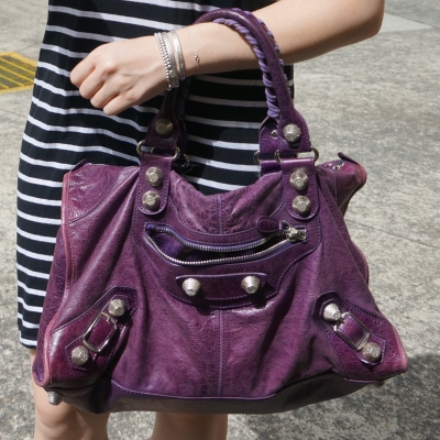 stripe tee dress, Balenciaga raisin purple 2009 giant silver G21 hardware work bag | away from blue