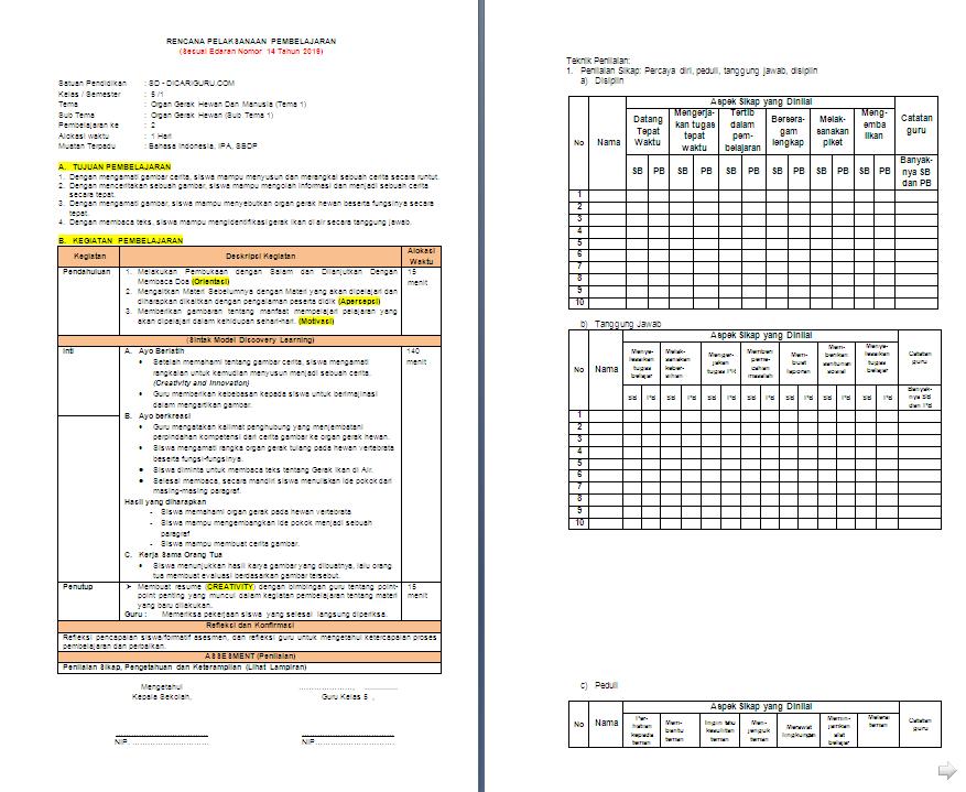 Rpp 1 Lembar Kelas 5 Sd Mi Tema 1 Organ Gerak Hewan Dan Manusia Antapedia Com