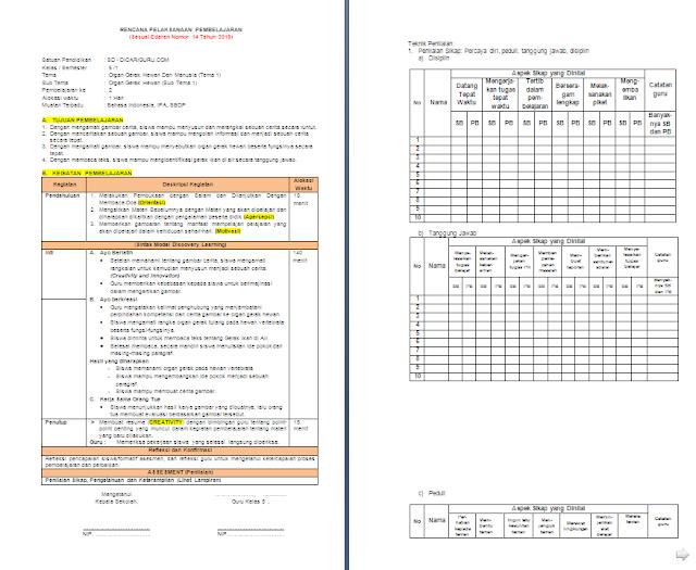RPP K13 1 Lembar Kelas 5 SD/MI Semester 1