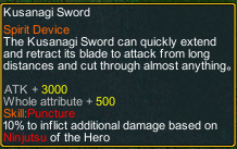 Naruto Counter Attack 7.8 Item kusanagi sword detail