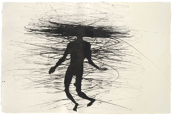 Anthony Gormley Feeling Material, 2001 [from series TRAJECTORY FIELD, 2001 - 2003] Black pigment and casein on paper 56 x 77 cm