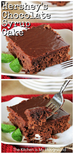 Hershey's Chocolate Syrup Cake ~ Topped with rich chocolate icing, this classic cake is moist, tender, & absolutely delicious! www.thekitchenismyplayground.com