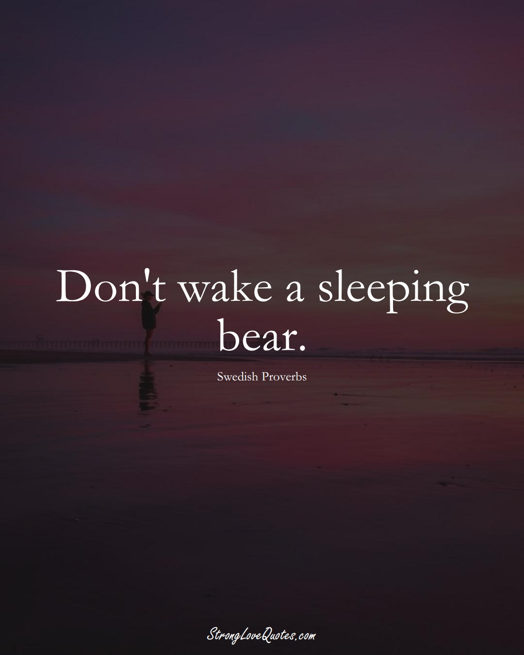 Don't wake a sleeping bear. (Swedish Sayings);  #EuropeanSayings