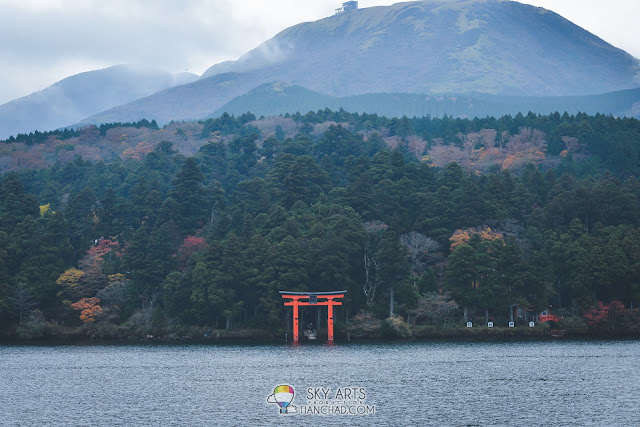 View of Hakone Shrine from the ship we took