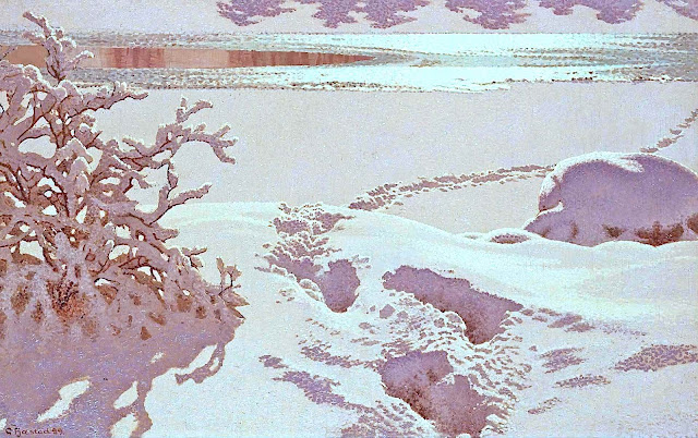 a Gustaf Adolf Christensen Fjæstad 1899 painting of a river in winter with foot-steps in snow