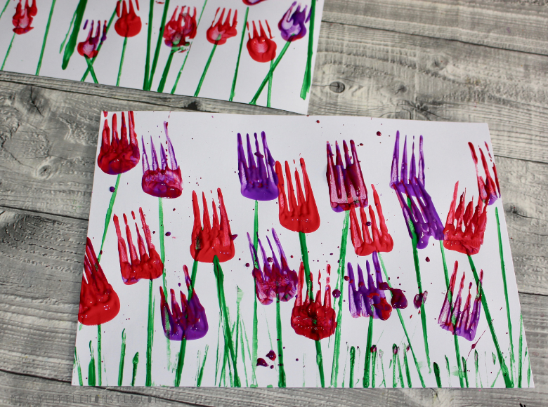 fork painting flowers for kids
