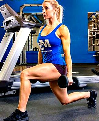Front Lunges with dumbbells or barbell behind or in front.