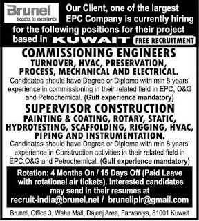 Free Recruitment to Brunel EPC company in Kuwait