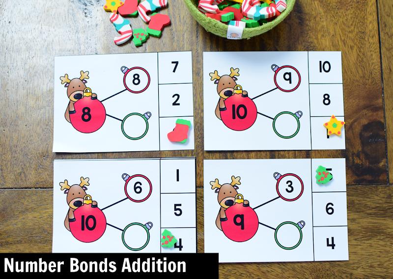 Kindergarten Math Center for December: Number Bonds
