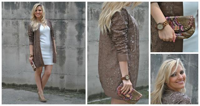 outfit abito bianco soprabito michele negri abbinamento marrone e bianco come abbinare il marrone outfit primaverili outfit maggio 2016 mariafelicia magno fashion blogger blogger italiane