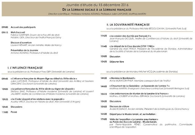 """NANCY (54) - Journée d'études : """"De la Lorrain ducale à la Lorraine française"""" (15 décembre 2016)"""