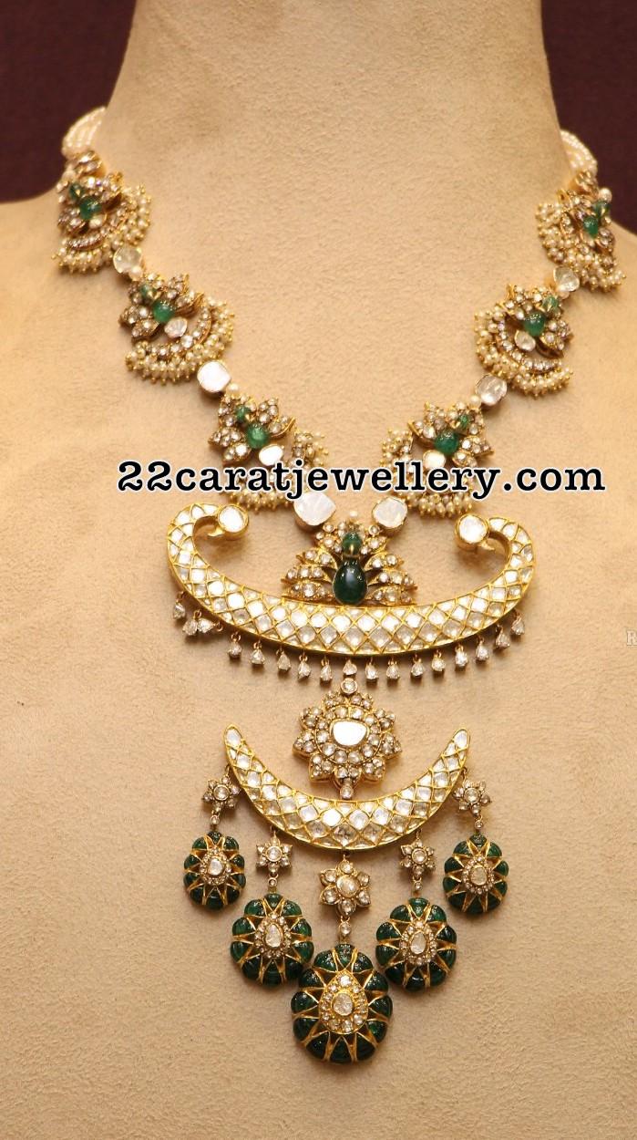 Kundan Emerald Polki Set Pearls Earrings - Jewellery Designs