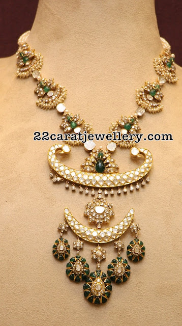 Kundan Emerald Polki Set Pearls Earrings