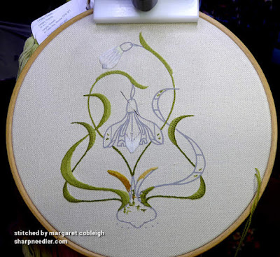 Progress on crewel leaves on snowdrop design