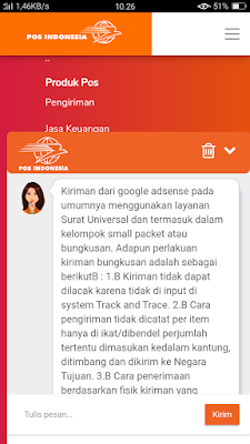 Konfirmasi Chat Halo Pos Indonesia terkait masalah keterlambatan Pin Adsense