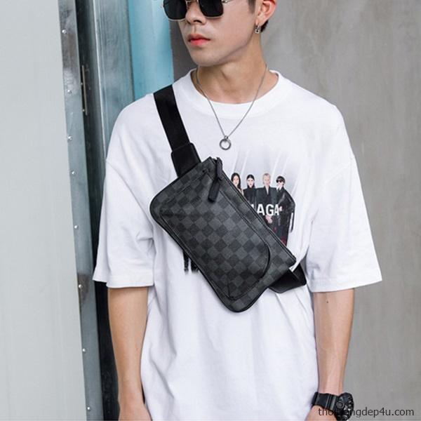Túi bao tử đeo chéo caro thời trang da nam cao cấp BAM067