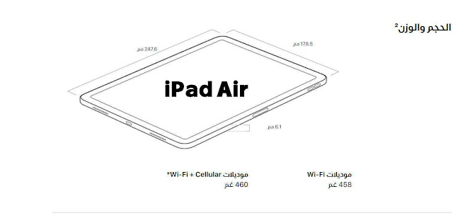 أبعاد iPad Air