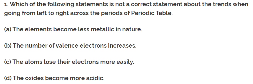 Class 10th Ch-5 Ncert Questions Answer Periodic Table Q1.