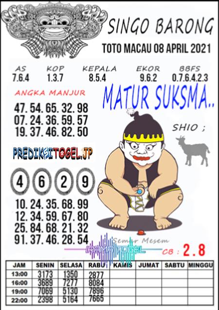 Syair Top Singo Barong Toto Macau Kamis 08 April 2021