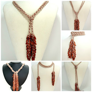 Cream and Copper Lariat Necklace