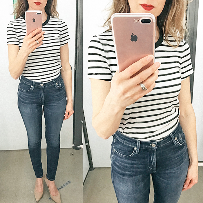 old navy, striped tee, skinny jeans, style blogger