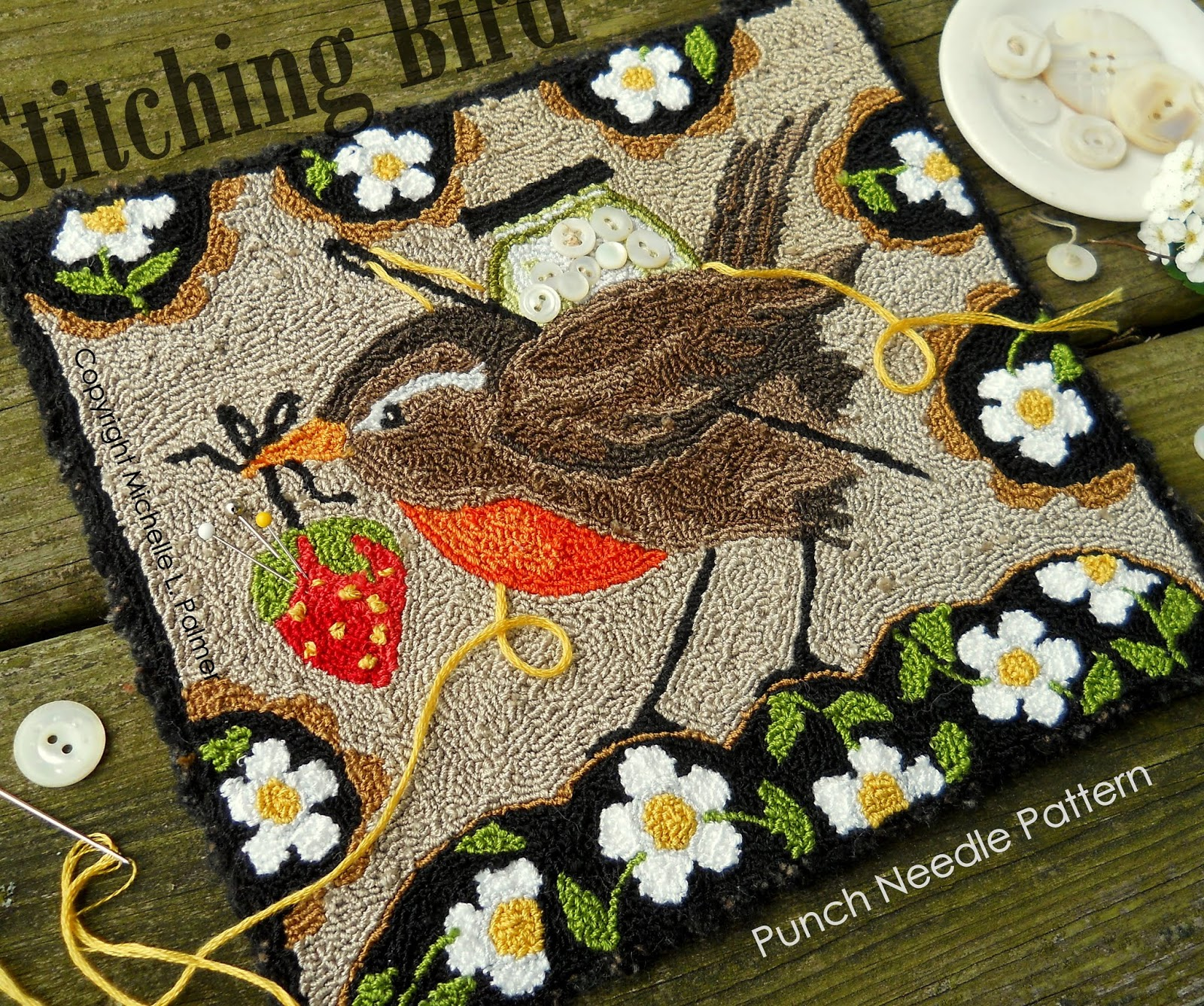 PRIMITIVE PUNCH NEEDLE PATTERN ~ PETALS AND PINS