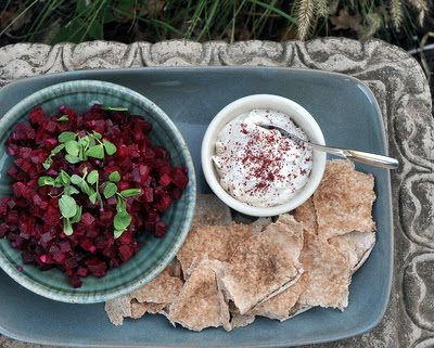 Beet Salad with Sumac, Yogurt & Pita
