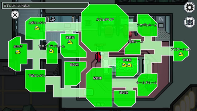 THE SKELDの入室管理端末使用中マップ画像