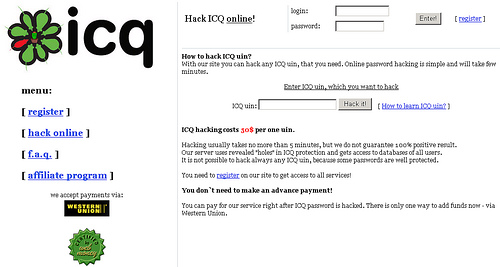 ICQ vulnerable to account theft using JavaScripts