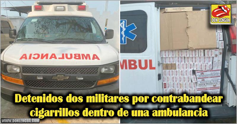 Detenidos dos militares por contrabandear cigarrillos dentro de una ambulancia