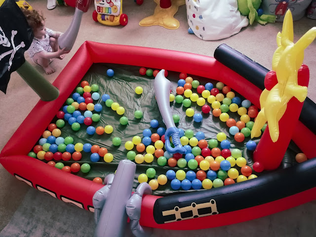 Inflatable pirate ship ball pit