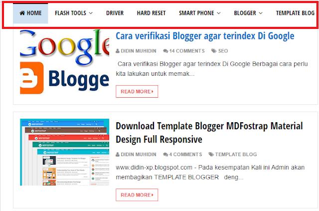 Cara Membuat Sub Menu Melayang saat scroll di blogger