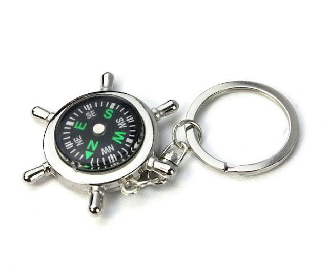 Nautical Compass Helm Keychain