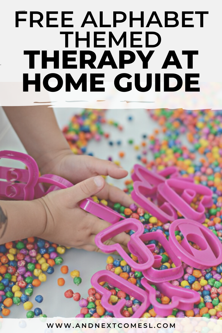 Free alphabet themed therapy at home activity guide for parents and therapists