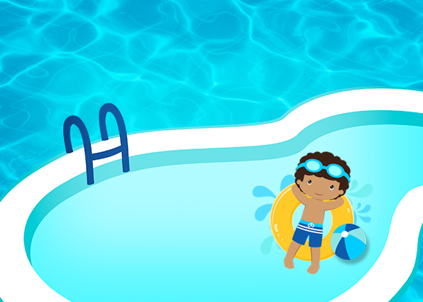 Fiesta en la piscina ni o moreno invitaciones para for Fotos follando en la piscina