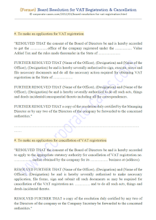 board resolution format for cancellation of vat registration