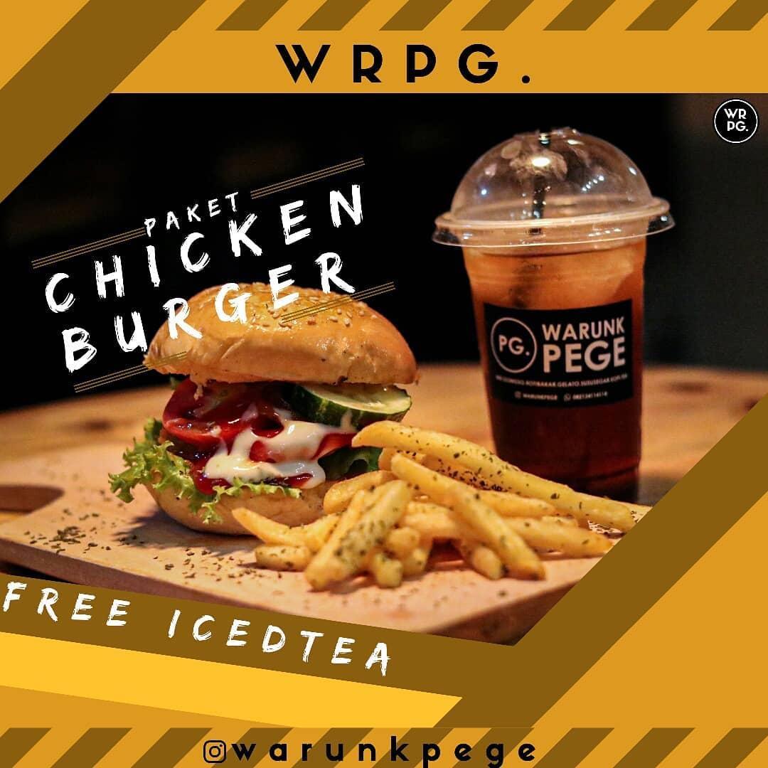 Katalog Digital Warunk Pege Wonosobo Chicken Burger + French Fries + Free Iced Tea