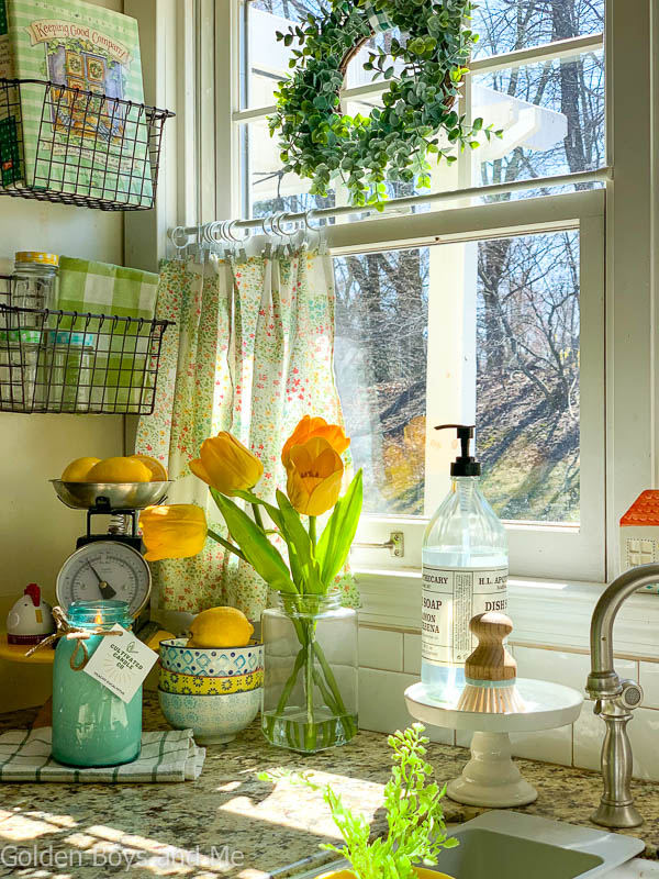 Cultivated Candle Company vintage mason jar candle in country kitchen with spring decor - www.goldenboysandme.com