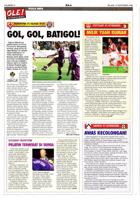 UEFA CUP GABRIEL BATISTUTA FIORENTINA VS HAJDUK SPLIT