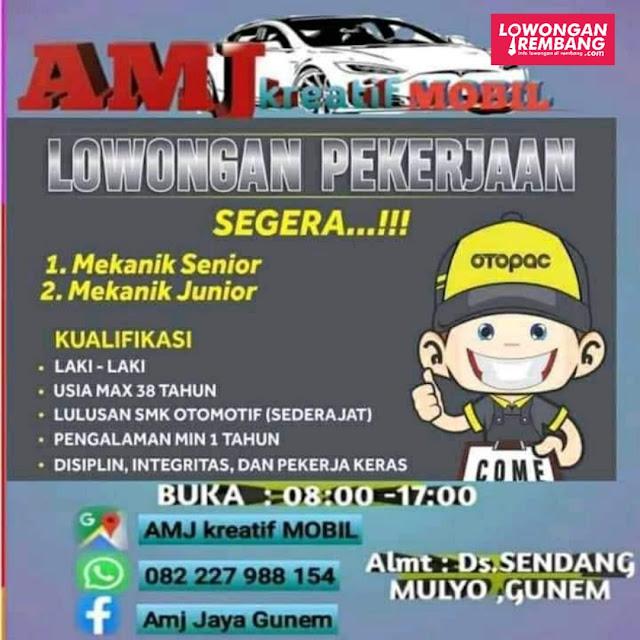 Lowongan Kerja Mekanik AMJ Kreatif Mobil Sendang Mulyo Gunem Rembang